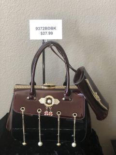 BRAND NEW!Burgundy/Black shiny patent leather with gold chain/pearl accents and gold fastener CO...