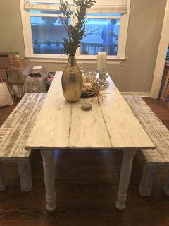 Custom Farmhouse dining room table with benches