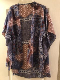 Live 4Truth brand light cardigan jacket; navy blue and brown pattern; x-large; non-smoking/no pet home; Lake Jackson pick up; $10