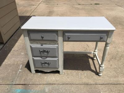 Desk painted in antique white and grey sealed with poly