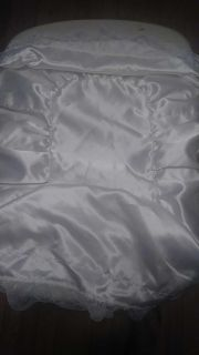 Baby doll bed cover, lace ribbon edged