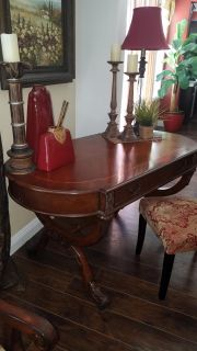 Exquisite hardwood desk with recessed compartments