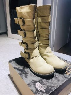 Pair of 4-Buckle Riding Boots Size 6.5