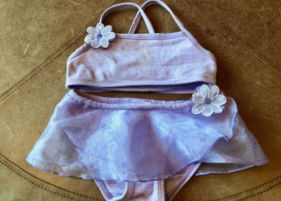 Lovely In Lavender! Gorgeous Sheer Tulle Skirted Striped Bikini with Sparkly Sequin Flower Appliqu s