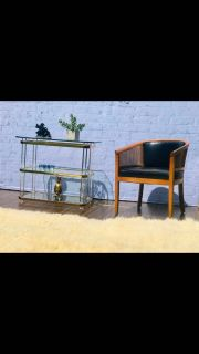 Vintage Brass and Lucite Charles Hollis Jones 3 Tier Console Table Shelf