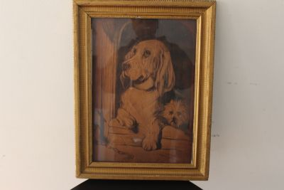 19th Century Oil On Wood Panel Dog Painting