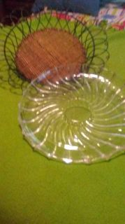 2 Serving Trays one Swril design glass