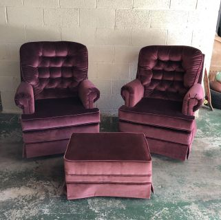 Two swivel rockers with ottoman