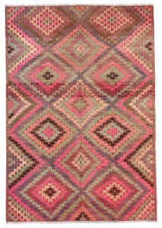 Pink Rug for kids room, geometric kitchen rug