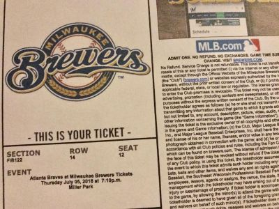 5 Brewers Tickets (07/05/201