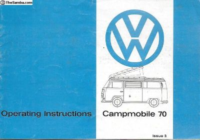 1970 Westfalia Westy Bus Owners Instruction Manual
