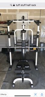 Tuff Stuff Olympic bench press/squat rack/cable system