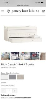 Twin Trundle Bed & Dresser - Pottery Barn Elliott Captain's Bed & Trundle and Cameron Storage Unit