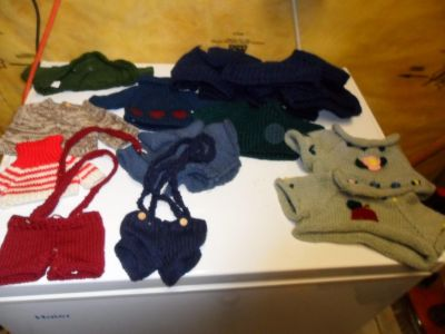 Stuffed bear or Doll clothing/sweaters 8.00/all