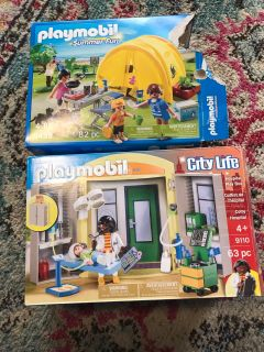 2 Playmobil sets- Camping Set & Hospital. Some Hospital still in pkg. All PCs are accounted for as far that I can tell.