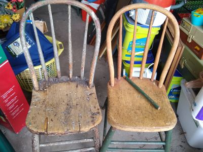 Antique chairs $10 each, $8 for chair with broken spoke