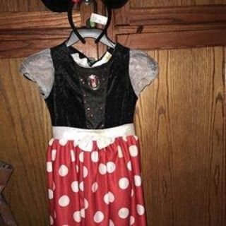 Disney Minnie Mouse Classic Girls Costume sz Med 7/8 with ears!