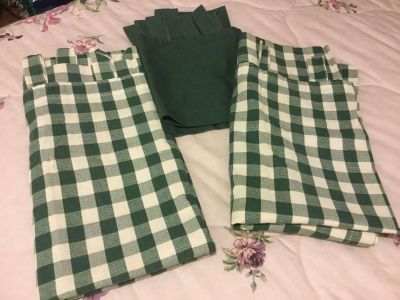 Green and Beige Checked Curtains