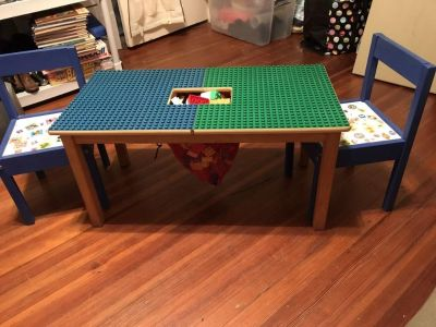 Duplo Lego Table w/ 2 Chairs and solid table top