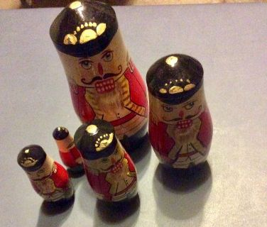 Vintage Wood Nutcracker Nesting Dolls