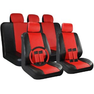 Buy Faux Leather Car Seat Covers Black / Red 17pc Set W/Steering Wheel/Belt Pad/Head motorcycle in Van Nuys, California, United States