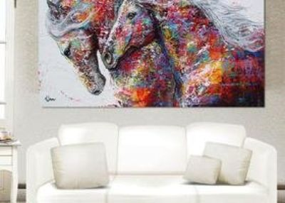 Colorful Horses Canvas Frameless Home Decor Huge Wall Art Oil Painting