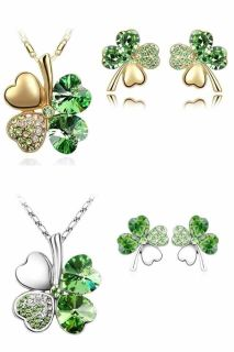CLEARANCE! Four Leaf Clover Crystal Necklace and Earrings Set! Available in gold and silver: $3 per set!!