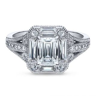 TODAY ONLY***BRAND NEW***GORGEOUS Emerald Cut CZ Art Deco Engagement Ring***SZ 7