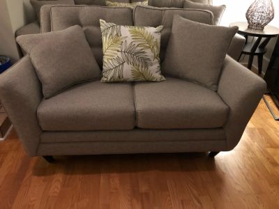 Gray canvas loveseat couch
