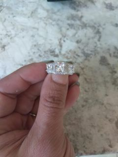 White diamonique sterling silver engagement ring