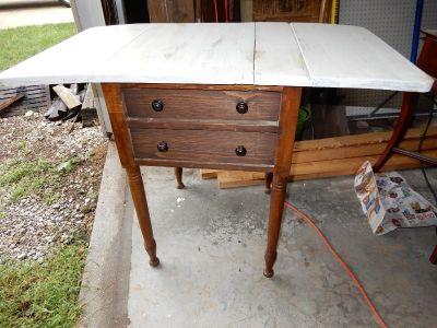 adorable old table/sidetable with drawers & folding table top