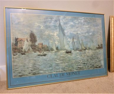 MONET SAILBOAT PRINT IN GOLD METAL FRAME 3' X 2'