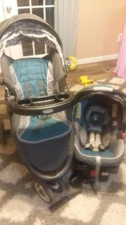 Graco jogging stroller travel system with infant car seat and base
