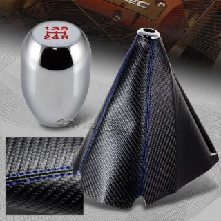 Buy JDM Carbon Style Blue Stitch Manual Shift Boot + Chrome 5-Speed Shifter Knob 5 motorcycle in Walnut, California, United States