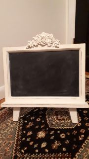 Vintage looking chalkboard stand off white
