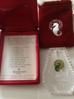 1991 Waterford Crystal 12 Days of Christmas Ornament