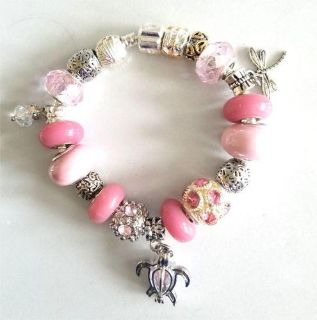 Sterling Chain Charm Bracelet With Genuine Murano Glass Beads and Charms 6-9 in.