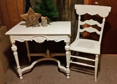 Antique Parlor Table and Cane Chair