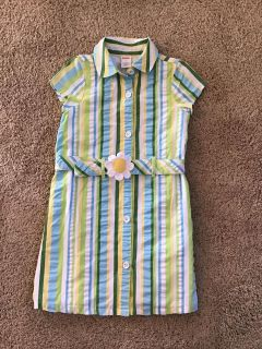 Gymboree lined striped shirtdress with belt size 7, excellent condition and perfect for Spring/Summer,