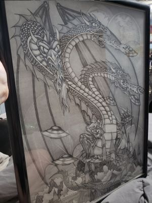 2 Large Signed and Framed DRAGON prints by Dan Thompson