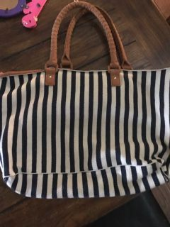 Navy and cream striped tote