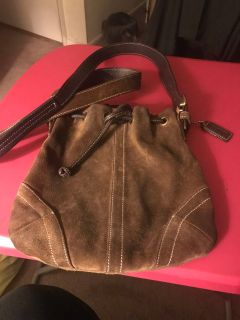Genuine leather/suede small coach bag