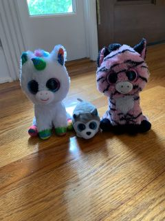 Lot of 3 Beanie Boo Stuffed Animals in Excellent Condition and Clean!