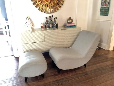 Modern mcm mid century inspired lounge chair with ottoman