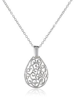 SALE TODAY ***BRAND NEW***Sterling Silver Filigree Teardrop Necklace***