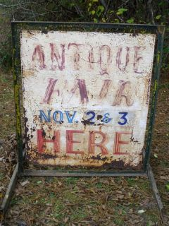 Large Antique Metal Sign w/Stand--Hand Painted Double Sided