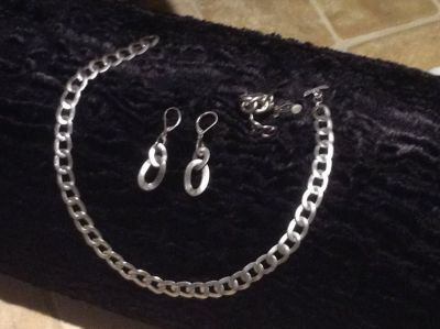 RALPH LAUREN STERLING SILVER NECKLACE AND 2 SETS OF EARRINGS