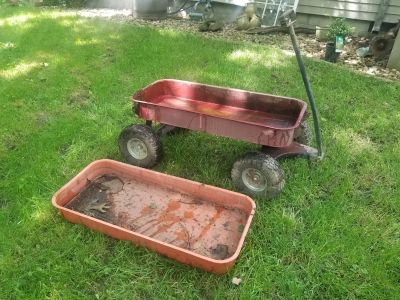 Metal wagon with offroad tires and extra top! FIRST COME! MACKINAW PICKUP TODAY