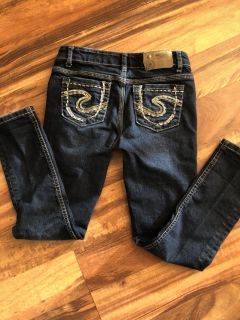 Girls size 8 silver jeans