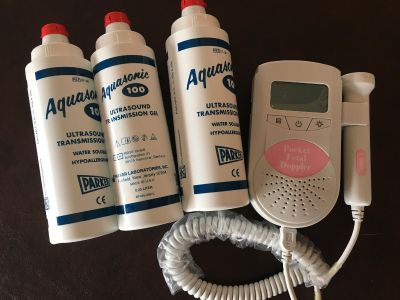 Fetal Doppler w/3 bottles of gel. Hand held ultrasound transducer that is used to monitor fetal heartbeats for prenatal care.